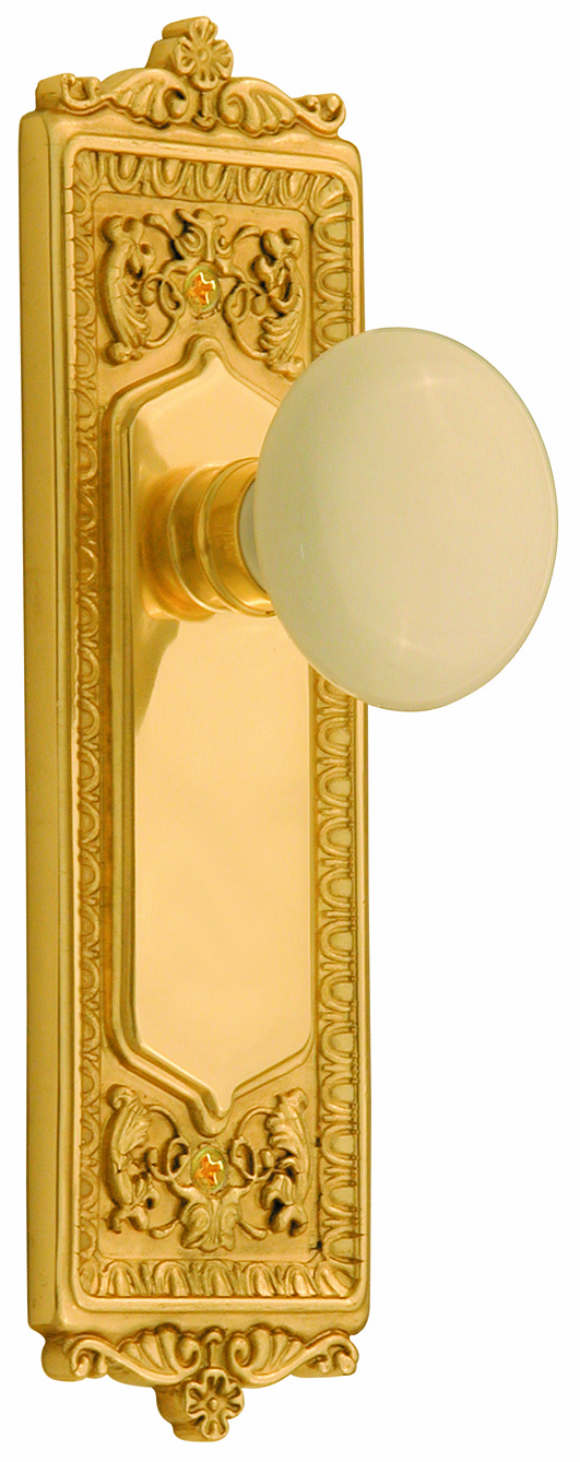 Egg and Dart Backplate and White Porcelain Knob, Passage, Brass
