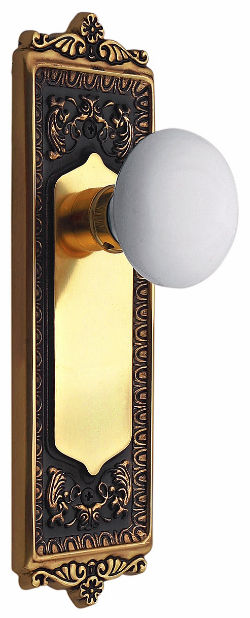 Egg and Dart Backplate and White Porcelain Knob, Privacy, Antique Brass