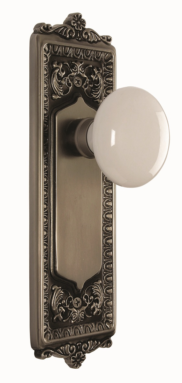 Egg and Dart Backplate and White Porcelain Knob, Privacy, Antique Pewter