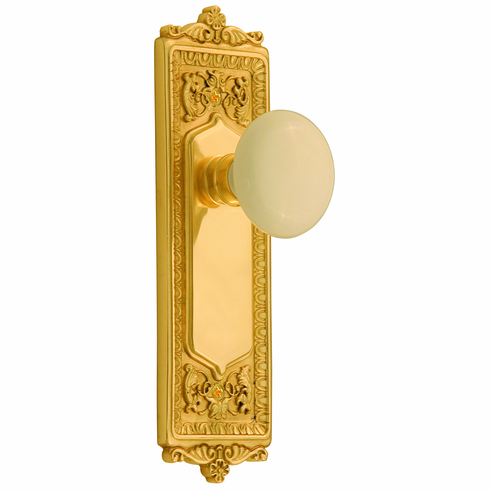Egg and Dart Backplate and White Porcelain Knob, Privacy, Brass