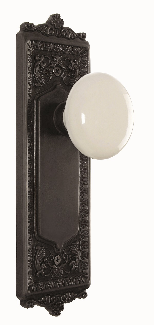 Egg and Dart Backplate and White Porcelain Knob, Privacy, Oil Rubbed Bronze