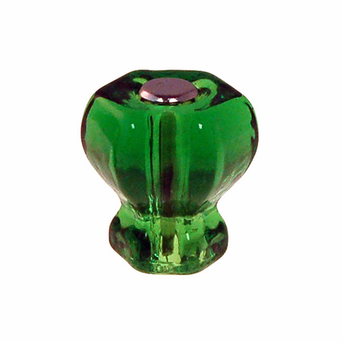 Forest Green Glass Hex Knob 1""