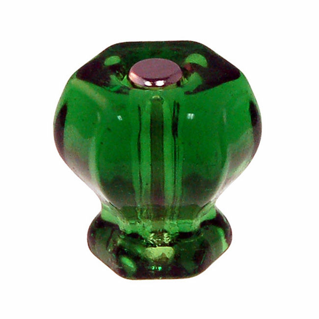 """Forest Green Glass Hex Knob 1.25"""""""