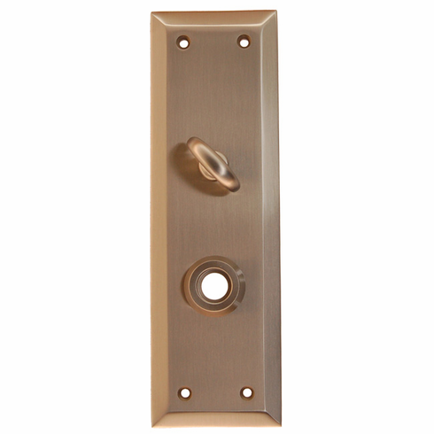 Heavy Forged Brass Backplate<br>Brushed Nickel Finish<br>With Crescent Thumb Turn
