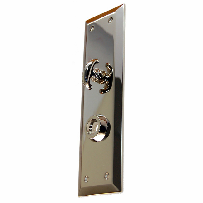 Heavy Forged Brass Backplate<br>Nickel Finish<br>With Crescent Thumb Turn