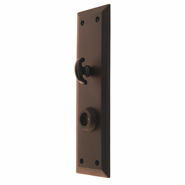 Heavy Forged Brass Backplate<br>Oil Rubbed Bronze Finish<br>With Crescent Thumb Turn