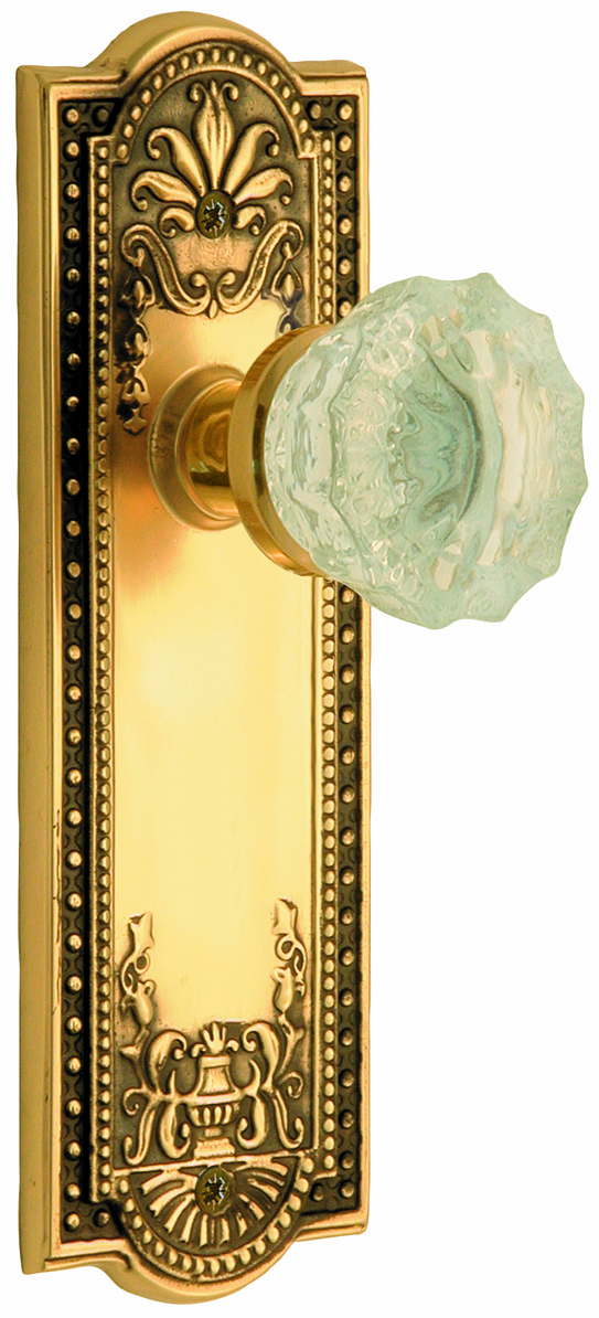 Meadows Backplate and Crystal Knob, Privacy, Antique Brass