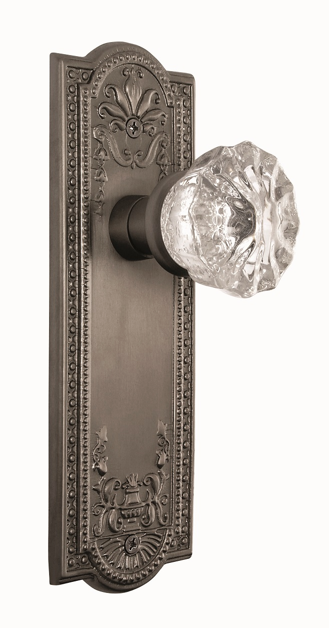 Meadows Backplate and Crystal Knob, Privacy, Antique Pewter