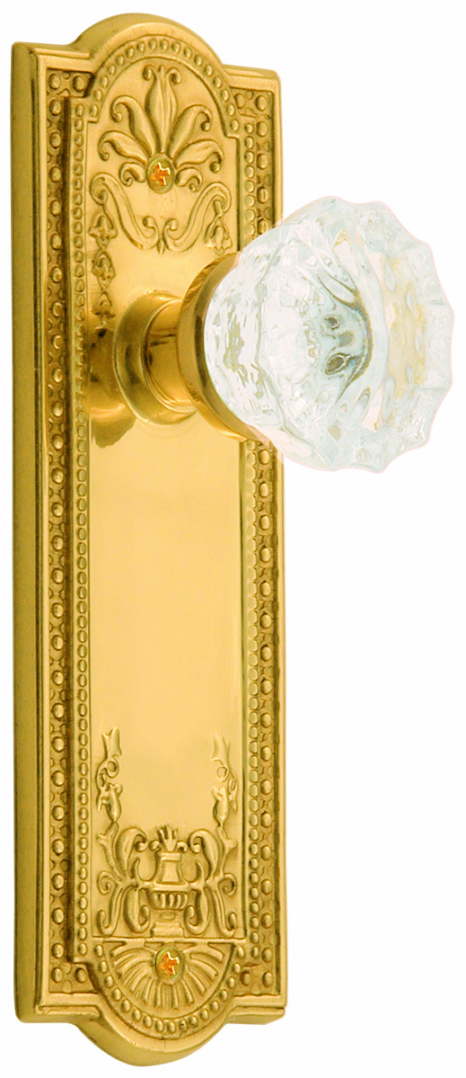 Meadows Backplate and Crystal Knob, Privacy, Brass