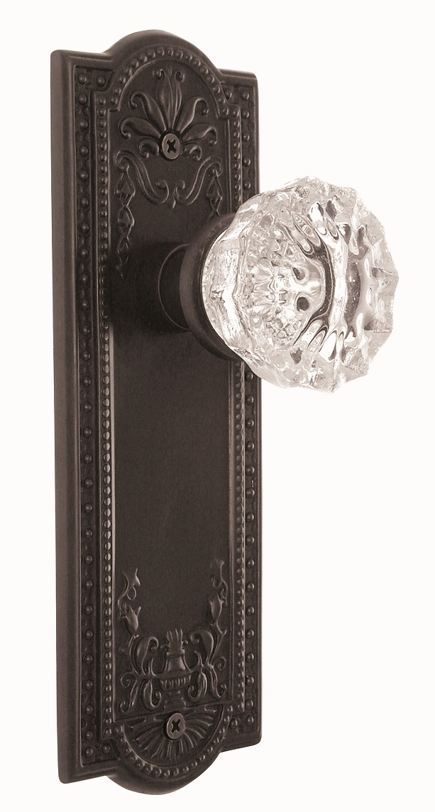 Meadows Backplate and Crystal Knob, Privacy, Oil Rubbed Bronze
