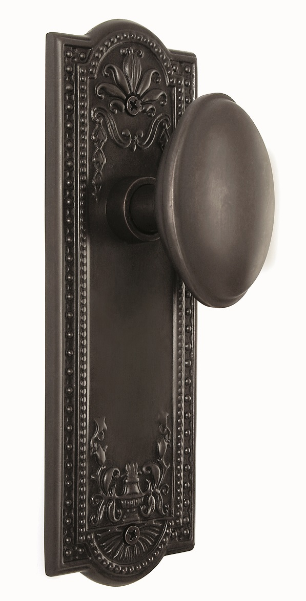 Meadows Backplate and Homestead Knob, Passage, Oil Rubbed Bronze