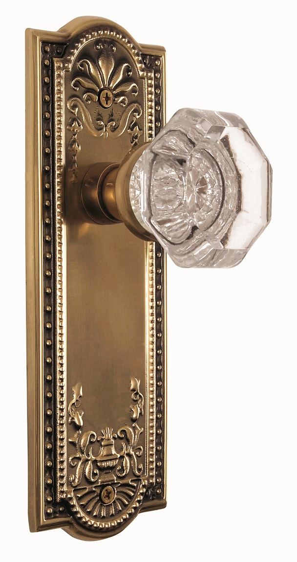 Meadows Backplate and Waldorf Knob, Privacy, Antique Brass