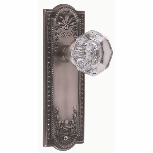 Meadows Backplate and Waldorf Knob, Privacy, Antique Pewter