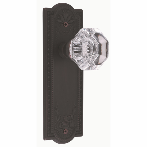Meadows Backplate and Waldorf Knob, Privacy, Oil Rubbed Bronze
