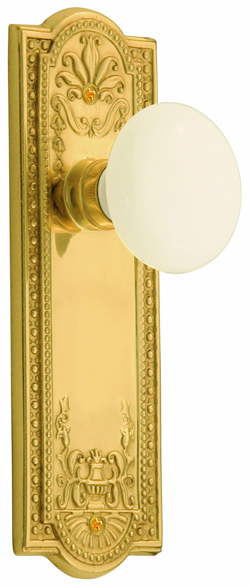 Meadows Backplate and White Porcelain Knob