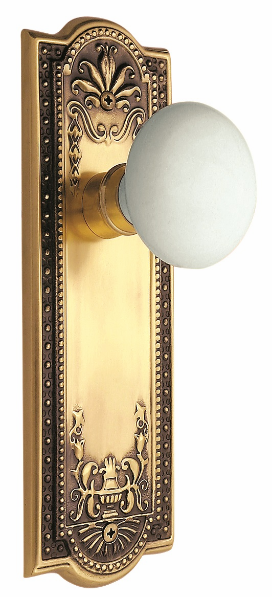 Meadows Backplate and White Porcelain Knob, Passage, Antique Brass