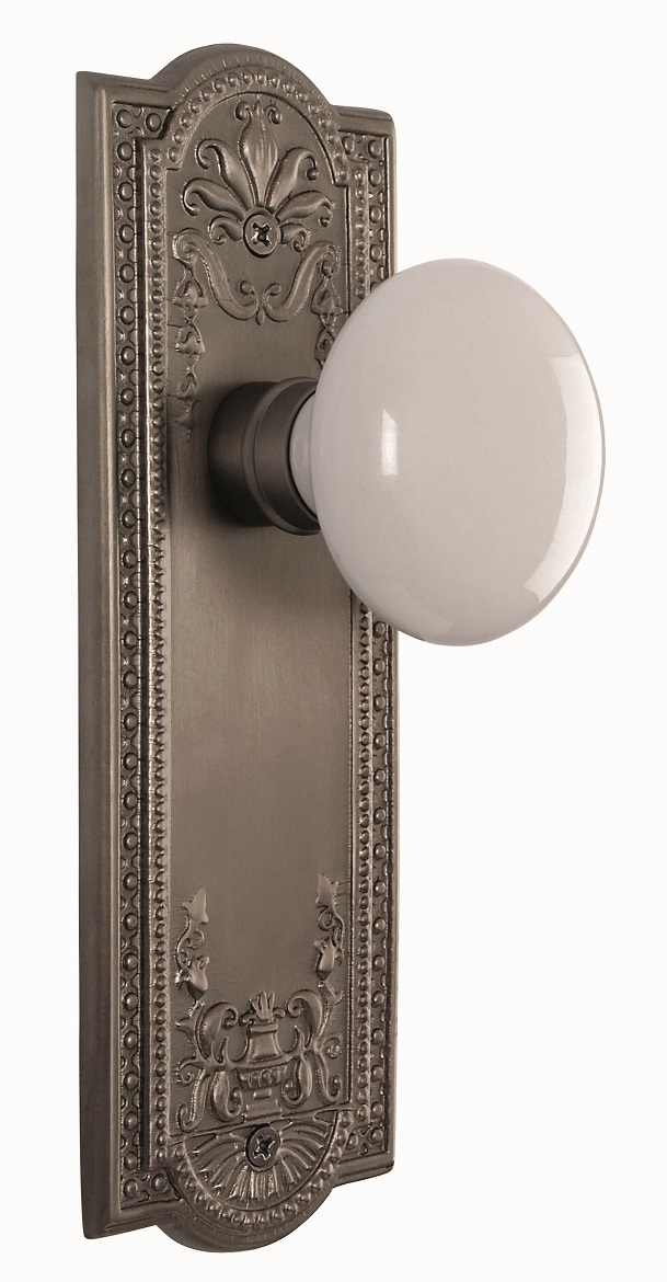 Meadows Backplate and White Porcelain Knob, Passage, Antique Pewter