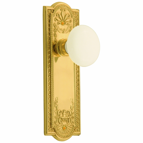 Meadows Backplate and White Porcelain Knob, Passage, Brass