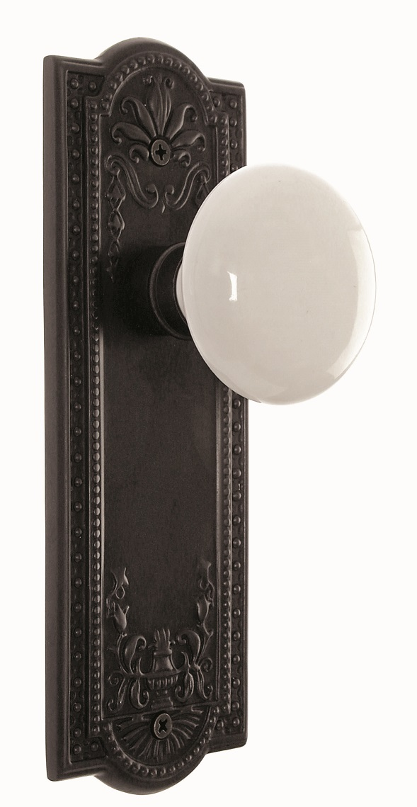 Meadows Backplate and White Porcelain Knob, Passage, Oil Rubbed Bronze