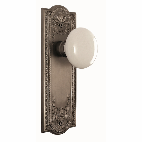 Meadows Backplate and White Porcelain Knob, Passage, Satin Nickel