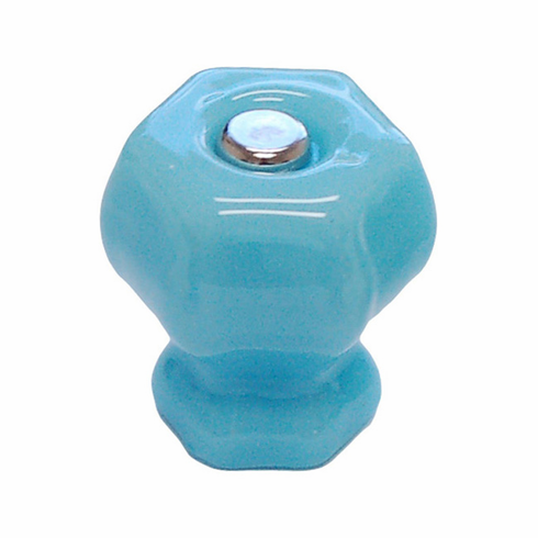 Milk Blue Glass Hex Knob 1.25""