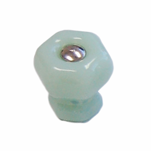 Milk Green (Jade) Glass Hex Knob 1""