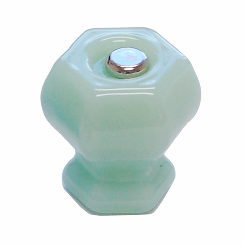 Milk Green (Jade) Glass Hex Knob 1.25""