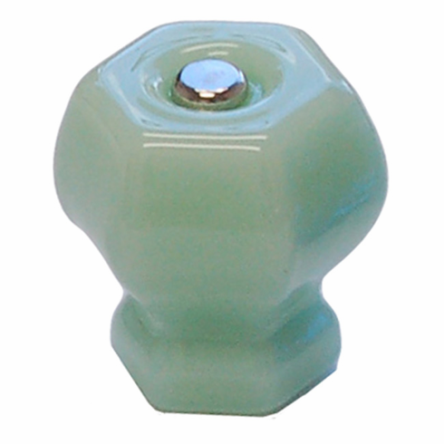 Milk Green (Jade) Glass Hex Knob 1.5""