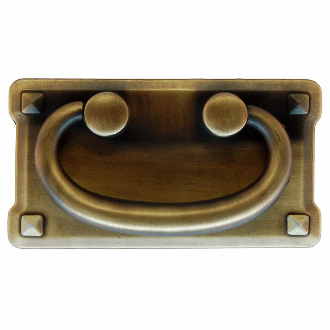 """Mission Style Drawer Pull-3"""" Antique Brass"""