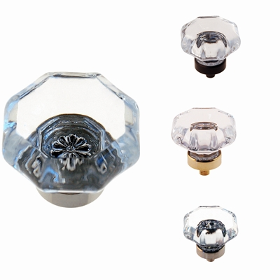 Octagonal Glass Knob - 1.5""