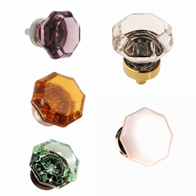 "Octagonal Glass Knob 1"" -  Available in 5 Colors"