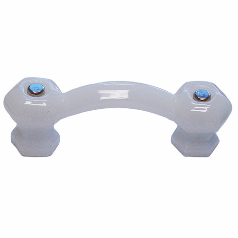 Opal White Glass Hex Handle with Nickel Bolts