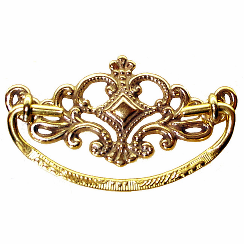 Ornate Cast Brass Drawer Pull-3""