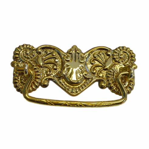 Ornate Stamped Brass Drawer Pull-3""