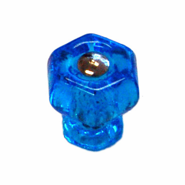 Peacock Blue Glass Hex Knob 1""