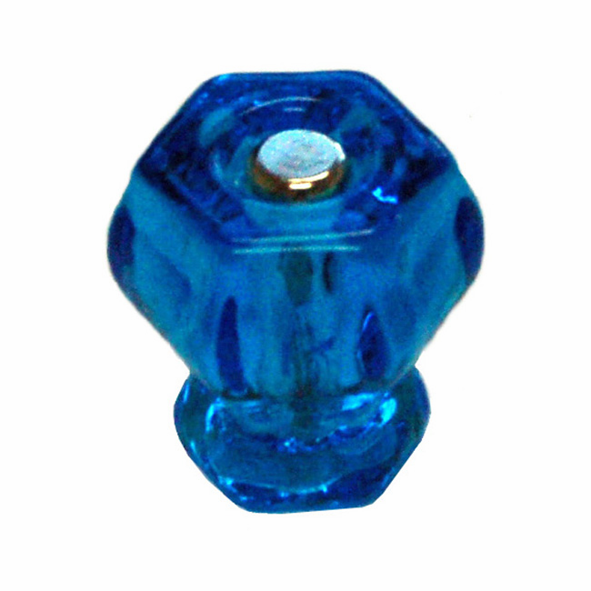 Peacock Blue Glass Hex Knob 1.25""