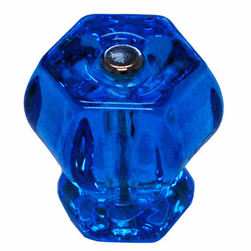 Peacock Blue Glass Hex Knob 1.5""