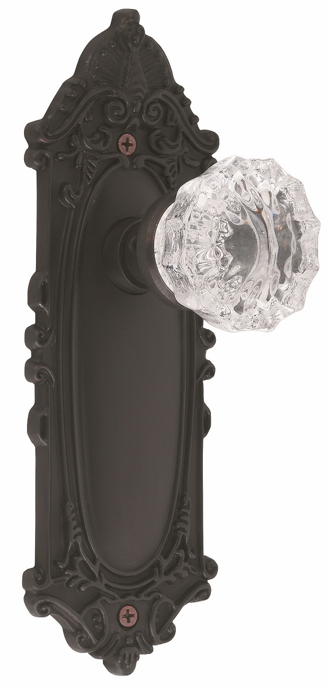 Victorian Backplate and Crystal Knob, Privacy, Oil Rubbed Bronze