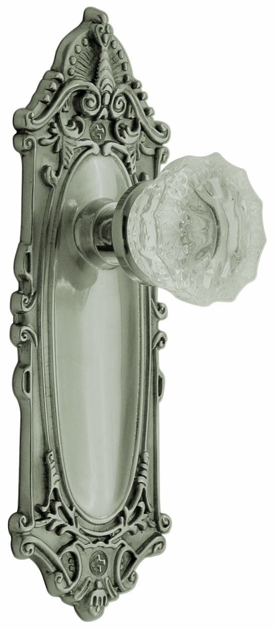 Victorian Backplate and Crystal Knob, Privacy, Satin Nickel