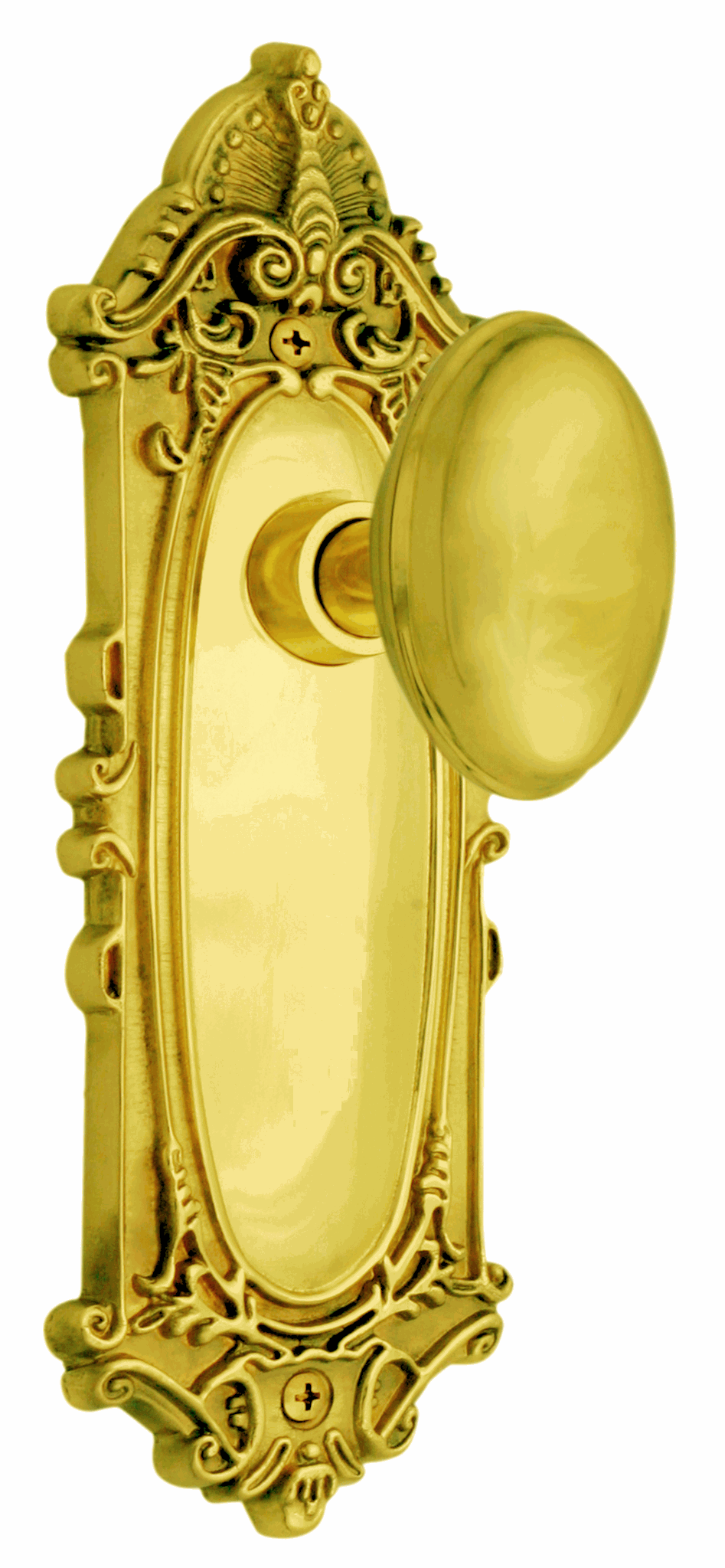 Victorian Backplate and Homestead Knob, Passage, Polished Brass