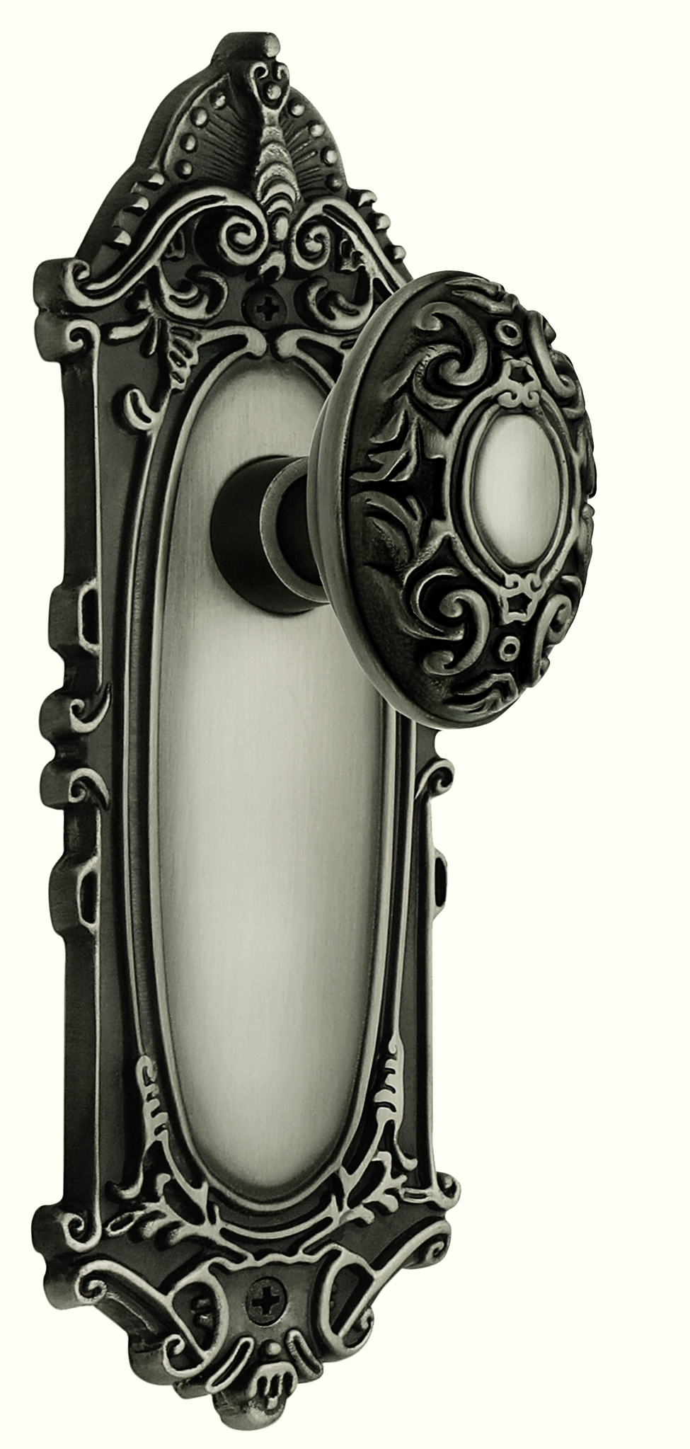 Victorian Backplate and Victorian Knob, Privacy, Antique Pewter