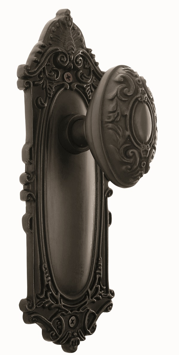 Victorian Backplate and Victorian Knob, Privacy, Oil Rubbed Bronze