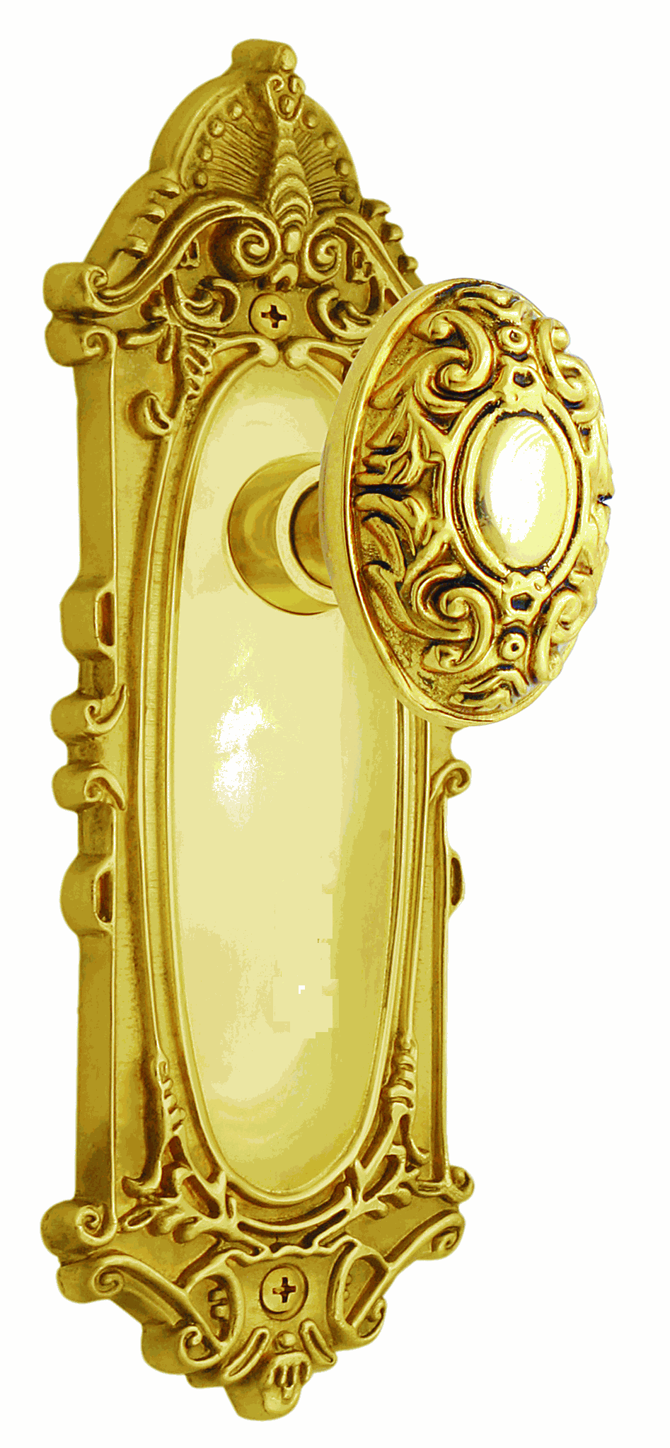 Victorian Backplate and Victorian Knob, Privacy, Polished Brass