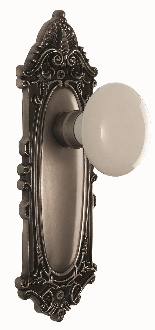 Victorian Backplate and White Porcelain Knob, Privacy, Antique Pewter