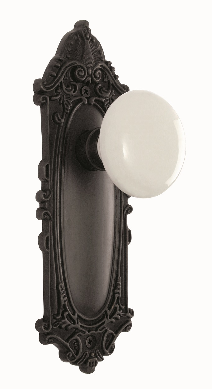 Victorian Backplate and White Porcelain Knob, Privacy, Oil Rubbed Bronze
