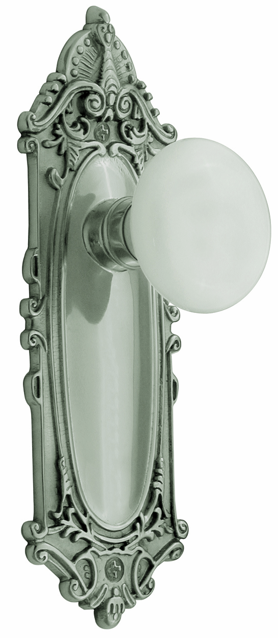 Victorian Backplate and White Porcelain Knob, Privacy, Satin Nickel