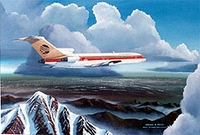 Continental B727 over Rocky Mountains