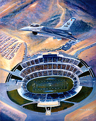 """""""FALCON FOOTBALL"""" 16x20 Canvas Unframed Fisher DeBerry Edition"""