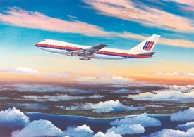 United Airlines 747-100 16x20 Canvas