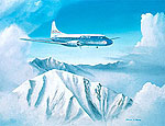 United Airlines CV-340 over Rocky Mountains